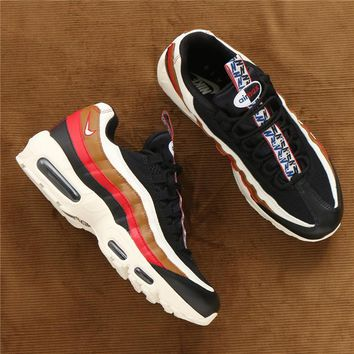 NIKE AIR MAX 95 Fashion  Women Men Sport Shoes Sneakers Shoes B-CSXY Contrast(Black&red&brown line)