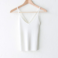 Ribbed Knit V-neck Tank Top