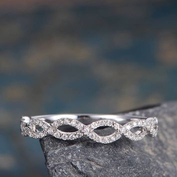 Diamond Wedding Band Unique Twist Infinity Women Ring Half Eternity Promise Anniversary Ring