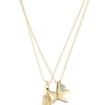 Gold Starfish Pendant Layering Necklaces - 2 Pack by Charlotte Russe