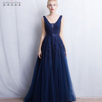 2017 A Line Beaded Lace Appliques Sexy V Back Navy Blue Tulle Prom Dresses Long Formal Dress