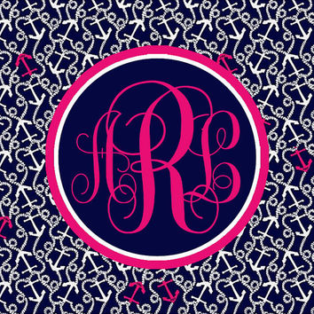 Lilly Pulitzer Inspired Personalized Monogram iPad Wallpaper -- Ahoy There --