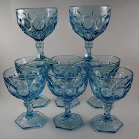 Fostoria Moonstone In Fine Glassware Set of 8, Blue Cut Glass Goblets four Pedestal Goblets, Water Glasses, Wine Glasses, Sherbet, Excellent