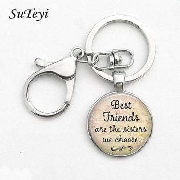 Best Friends Are The Sisters We Choose,Friendship Key Ring Pendant Quote Jewelry Glass Cabochon Keychain Key Chain