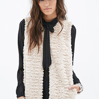 FOREVER 21 Boxy Faux Fur Vest Taupe