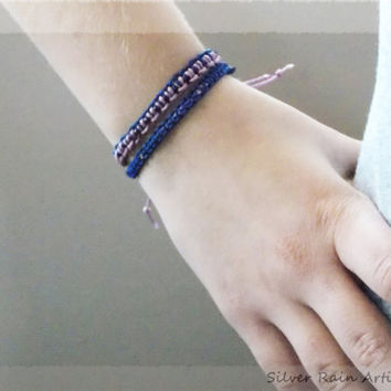 2 Friendship bracelets , blue and purple tones, macrame bracelet , braided bracelet, friendship bracelet