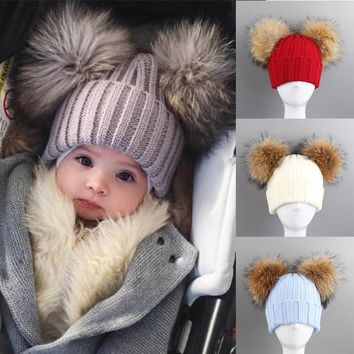 Fashion Winter Children Knitted Hat With 2 Plush Balls Fur Pompoms Keep Warm Cap Boys Girls Beanie Hats New
