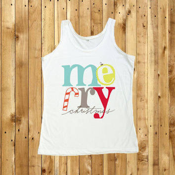 Merry Christmas Shirt Tank Top T-Shirts Women T Shirt Christmas Gift size S M L