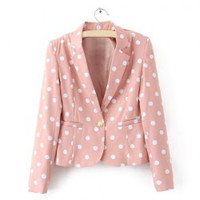 Long Sleeves Lapel Polka Dot Pattern Pockets Single Button Ladylike Women's Blazer