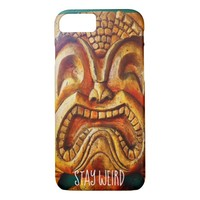 """Stay Weird"" Quote, Fun Retro Wood Tiki Face Photo iPhone 8/7 Case"