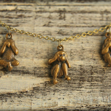Three Wise Monkeys Necklace in Aged Brass by saffronandsaege