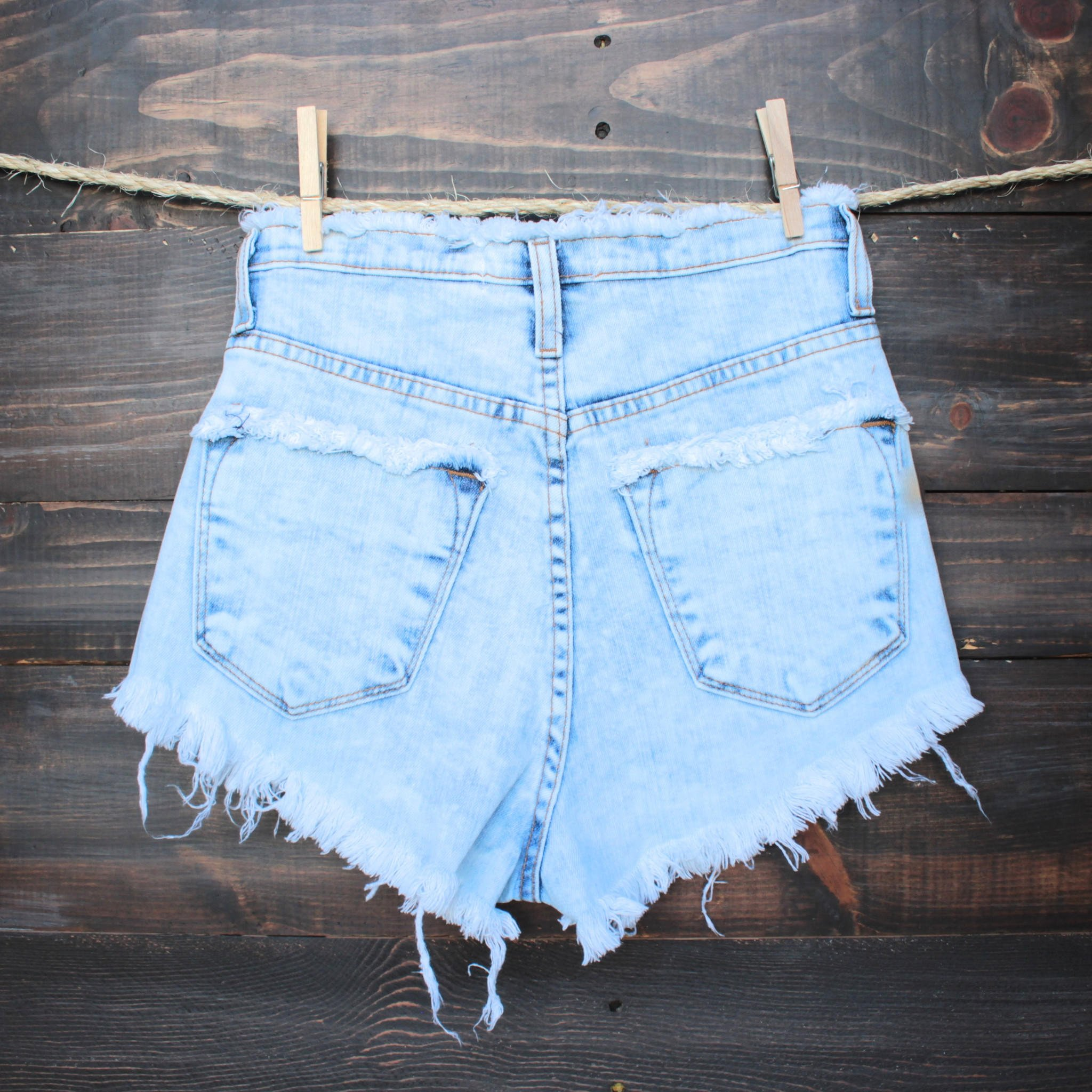 high waisted distressed denim shorts - from shophearts   Quick