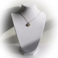 Sterling Silver Rose Locket Pendant with encased Natural Pearl Center Stone