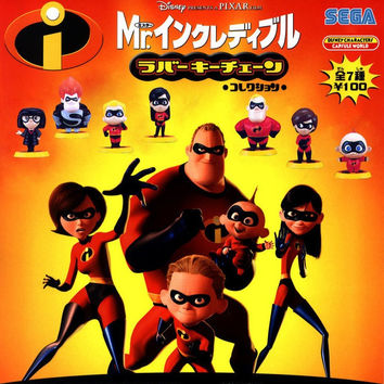 Sega Pixar Mr. Incredibles Disney Characters Capsule World Gashapon 7 Mini Figure Set