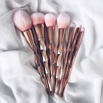 Luxe-Rose Gold Brush Makeup Brushes Set 7pcs