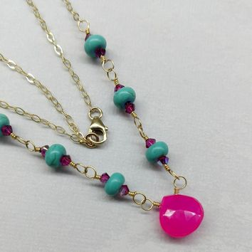Adjustable 14KT Gold Filled Hot Pink Chalcedony Turquoise Gemstone Necklace