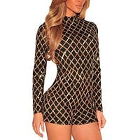.Black Sequins Long Sleeves Romper