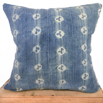 "20"" Inch Vintage Indigo African Mud Cloth Pillow Cover"
