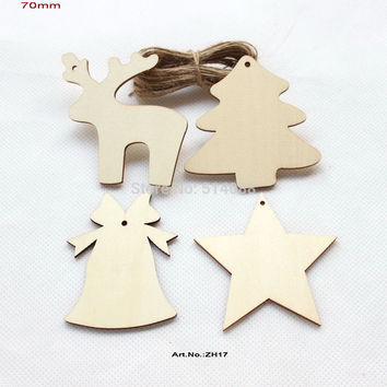 (4 Styles, 60pcs/lot) Unfinished Natural Wooden Assort Christmas Ornaments Deer Star Tree Bell Tags Strings Hanging 70mm-ZH17
