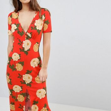 ASOS PETITE City Maxi Tea Dress with V Neck and Button Detail in Red Floral Print at asos.com