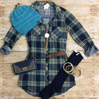 You Plaid me at Hello Belted Tunic: Navy/Teal