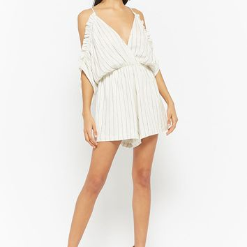 Pinstriped Open-Shoulder Romper