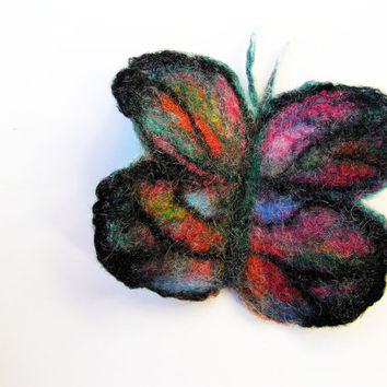 Butterfly felt brooch- wet felted butterfly-wool brooch- felt jewelry- nature inspired- organic- eco friendly- boho- christmas gift for her