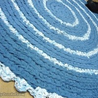 Rag Rug, 3ft Blue , Crochet Rug, Nursery Rug, Round Rug 90 cm, Ready to ship