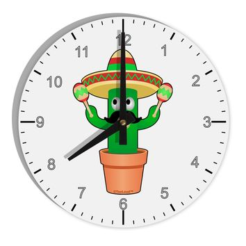 "Fiesta Cactus 8"" Round Wall Clock with Numbers by TooLoud"