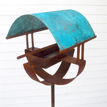 Sculptural Steel & Copper Bird Feeder 287 with turquoise patina