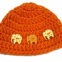 Crochet Baby Cap with Elephant Buttons, Orange Baby Beanie with Elephants, 3 to 6 Months