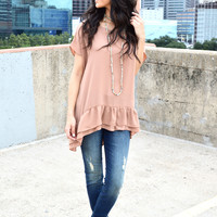 Ruffle the Romance Blouse- Brick