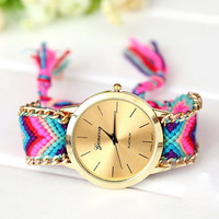 Women's Knitted Braided Watch Weaved Rope Band Bracelet Quartz Wrist