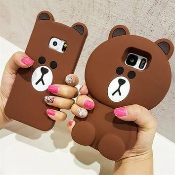 Cute Korean Cartoon Case 3D Teddy Bear Silicone Phone Cases For Samsung Galaxy S3 S4 S5 S6 Edge S7 Edge S8 S8 Plus Note 3/4/5