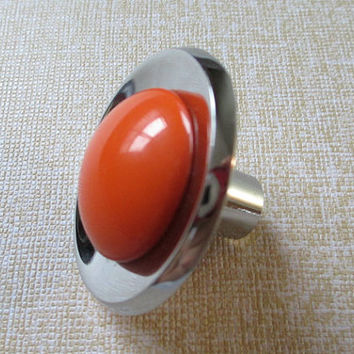 Orange Silver Knobs Kids Drawer Knobs / Glass Look Dresser Knob Pulls Handles Modern Kitchen Cabinet Knobs Childrens Knob Colorful Knobs