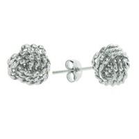 Sterling Silver 10mm Love Knot Stud Earrings