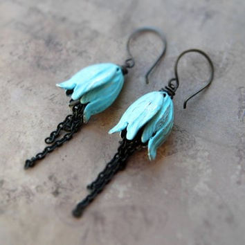 Blue tulip earrings / aquamarine colour flower, black brass chain / romantic flower earrings / rustic patina dangle earrings