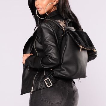 Jolie Fur Backpack - Black