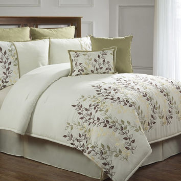 12pc Irie Sage/ Off White Luxury Bed in a Bag Size: Queen Sheet Set Color: Lavender
