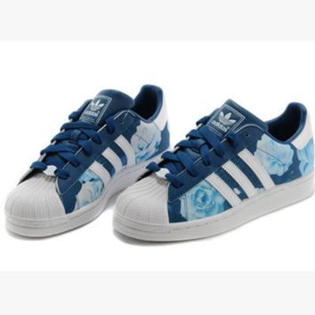"""""""Adidas"""" Fashion Shell-toe Flats Sneakers Sport Shoes Blue roses"""