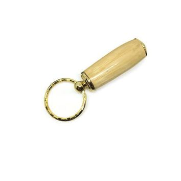 Secret Compartment Key Chain Pill Box with Hickory Wood and 24kt Gold Plated Finish Stash Box SJS147A