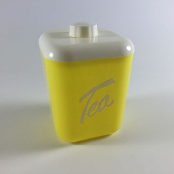 Vintage Plastic Tea Canister Yellow Retro Kitchen Container Yellow And White Tea Holder With Lid