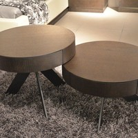 Modrest MH1307 Contemporary Brown Oak Coffee Table Set