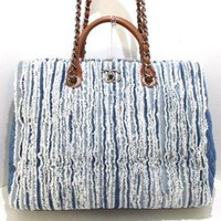 Auth CHANEL Blue White Brown Denim & Leather Tote Bag