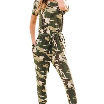 Camouflage Short Sleeve Casual Jumpsuit LAVELIQ