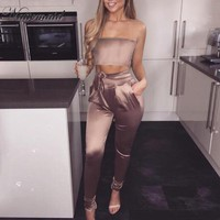 Women Sexy Strapless Top And Pants Set Off Shoulder pocket Jumpsuit Fashion Summer Two 2 Pieces Set
