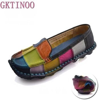 Handmade vintage women's shoes genuine leather female moccasins loafers soft cow muscl
