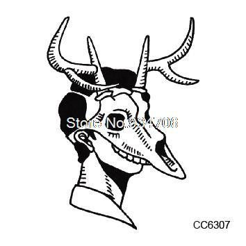 CC6307 6X6cm Little Vintage Old School Style Black Deer Skull Women Temporary Tattoo Sticker Body Art Water Transfer Fake Taty