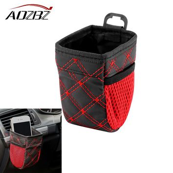 Aozbz Car Air Vent Outlet Storage Bag Card Ticket Phone Holder Container Grid Net Pocket Car styling Organizer Auto Accessories
