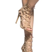 Nude Faux Suede Cut Out Lace Up Heels